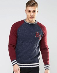 Bellfield Baseball Style Knitted Jumper Navy