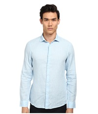 Michael Kors Slim Garment Dye Linen Shirt Mist Men's Clothing Blue