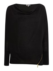 Wal G Long Sleeved Knit With Zip Detail Black