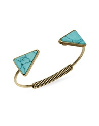 Robert Rose Goldtone Triangle Cuff Turquoise