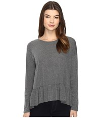 Brigitte Bailey Primalia Long Sleeve Top With Ruffle Grey Women's Clothing Gray