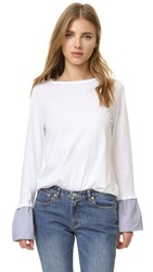 Clu Ruffle Cuff Long Sleeve Tee White