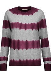 J Brand Mariposa Striped Wool Blend Sweater Merlot