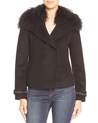 Elie Tahari Kiana Curly Fur Collar Jacket