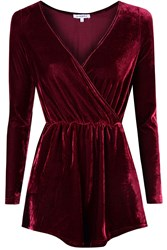 Alice And You Crossover Velvet Playsuit Burgundy