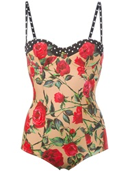 Dolce And Gabbana Rose And Polka Dot Print Swimsuit Nude And Neutrals