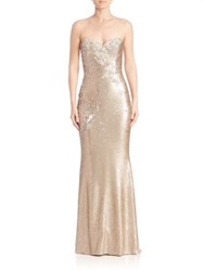 Marchesa Strapless Sequined Long Gown Gold