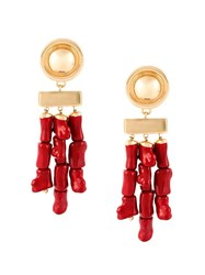 Balmain Bamboo Style Earrings Red