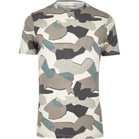 River Island Mens Grey Jigsaw Camo Muscle Fit T Shirt