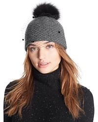 Helene Berman Knit Hat With Veil And Fox Fur Pom Pom Anthracite Black