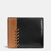 Coach Rip And Repair Compact Id Wallet In Sport Calf Leather Black Saddle