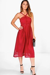 Boohoo Striped Panelled Strappy Skater Dress Berry