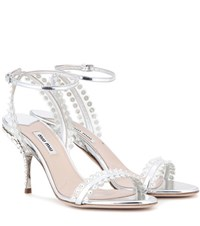 Miu Miu Embellished Metallic Leather Sandals Silver