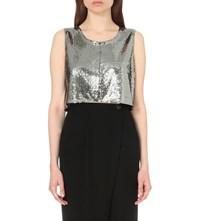 Mcq By Alexander Mcqueen Sequin Embellished Cropped Top Silver