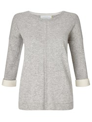 John Lewis Collection Weekend By Cashmere Turned Back Cuff Jumper Grey Ivory Grey Ivory