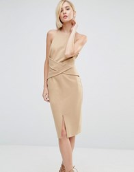 Lavish Alice Wrap Front Plunge Back Detail Midi Dress Light Camel Beige