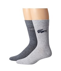 Lacoste Fine Jacquard Sock Navy Blue Mouline Silver Chine Men's Crew Cut Socks Shoes Gold