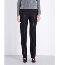 Jil Sander Striped Straight Wool And Mohair Blend Trousers Black