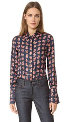 Victoria Beckham Printed Button Up Shirt Fruit Machine Navy