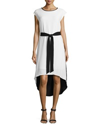 Sharagano Colorblock Belted High Low Dress Ivory Black