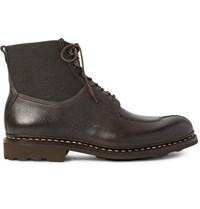 Heschung Ginkgo Pebble Grain Leather And Canvas Boots Charcoal
