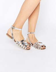 Asos Fifi Woven Leather Sandals Silver