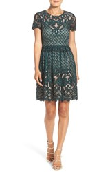 Eliza J Petite Women's Lace Fit And Flare Dress Green