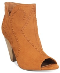 Xoxo Celia Whipstitch Western Ankle Booties Women's Shoes Cognac