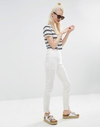 Asos High Waisted Skinny Pants With Split Fronts Ivory