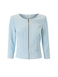 Lavand Collarless Textured Jacket Blue