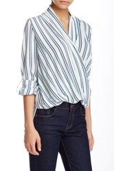 Romeo And Juliet Couture Long Sleeve Stripe Wrap Blouse Blue