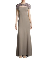 Escada Short Sleeve Rosette Silk Gown Taupe Brown