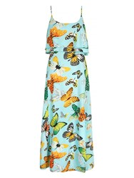 Mela Loves London Butterfly Print Tiered Frill Maxi Dress Mint