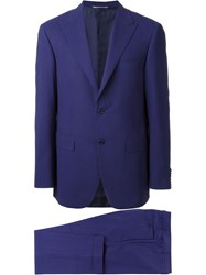 Canali Striped Suit Blue