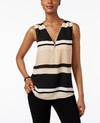 Inc International Concepts Petite Striped Zip Front Blouse Only At Macy's Power Stripe Beige