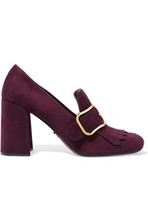 Prada Buckled Fringed Suede Pumps Burgundy