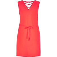 River Island Womens Bright Pink Lace Up Swing Dress