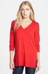Eileen Fisher Deep V Neck Slim Merino Tunic Regular And Petite Red Poppy