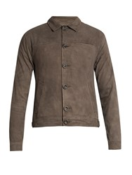 Oliver Spencer Point Collar Suede Jacket Grey