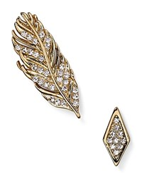 Rebecca Minkoff Feather Ear Climber And Pave Stud Earring Gold
