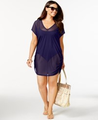 Anne Cole Plus Size Mesh V Neck Cover Up Women's Swimsuit Navy