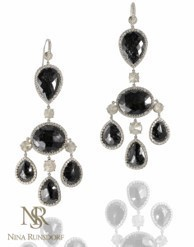 Nina Runsdorf Black Diamond Chandelier Earrings Silver