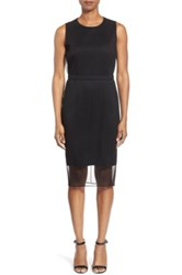 Hugo Boss 'Deplyti' Plisse Overlay Sheath Dress Black