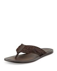 John Varvatos Artisan Leather Thong Sandal Dark Brown