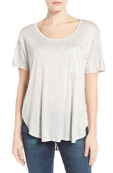 Bobeau Women's Short Sleeve One Pocket High Low Tee Light Grey