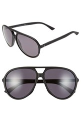 Men's Gucci 61Mm Polarized Aviator Sunglasses Shiny Black Dark Grey