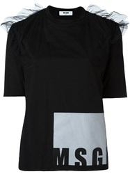 Msgm Ruffled Shoulders T Shirt Black