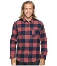Quiksilver Motherfly Classic Woven Button Up Flannel Wild Ginger Men's Clothing Red