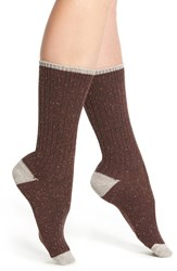 Lemon Women's 'Falling Leaves' Tweed Boot Socks Pomogranite
