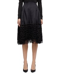 Whistles Fringed Organza Skirt Black